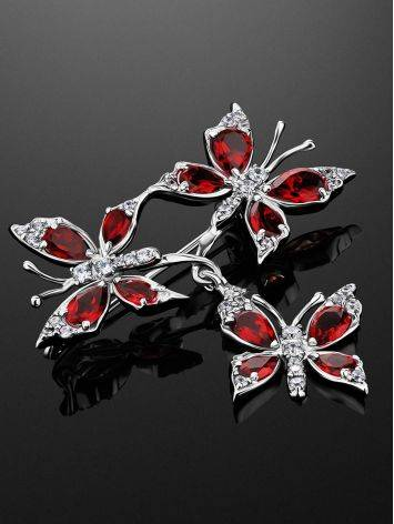 Amazing Silver Garnet Butterfly Brooch, image , picture 2