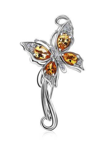 Fabulous Silver Citrine Butterfly Brooch, image