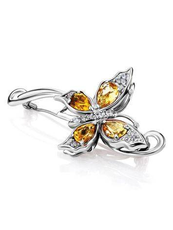 Fabulous Silver Citrine Butterfly Brooch, image , picture 3