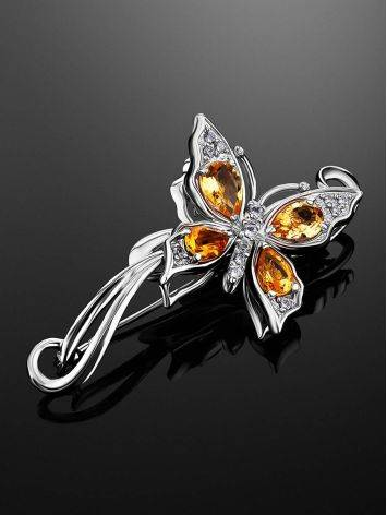 Fabulous Silver Citrine Butterfly Brooch, image , picture 2