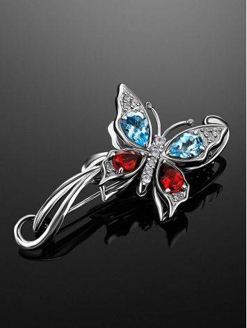 Fabulous Silver Butterfly Brooch With Multicolor Crystals, image , picture 2