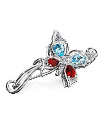 Fabulous Silver Butterfly Brooch With Multicolor Crystals, image , picture 3