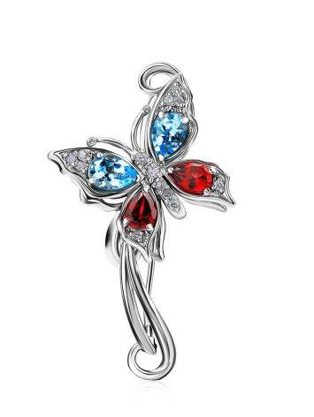 Fabulous Silver Butterfly Brooch With Multicolor Crystals, image