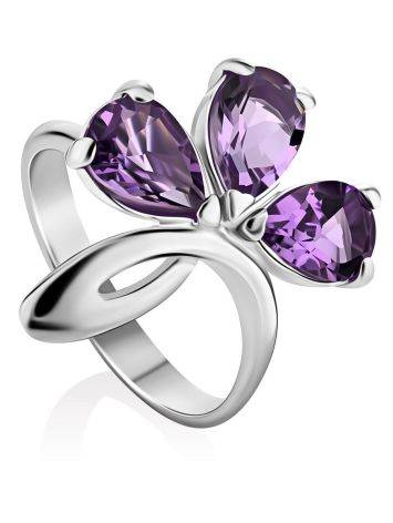 Chic Silver Amethyst Ring, Ring Size: 8 / 18, image
