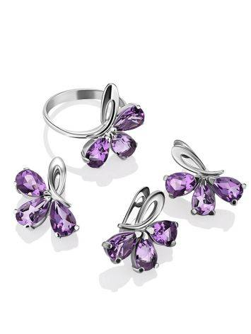 Charming Silver Amethyst Earrings, image , picture 3