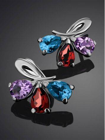 Silver Earrings With Bright Mix Color Crystals, image , picture 2