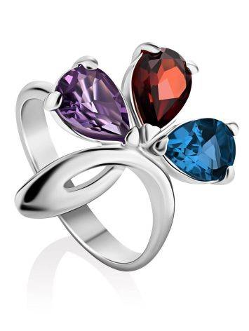Stylish Silver Ring With Multicolor Crystals, Ring Size: 7 / 17.5, image