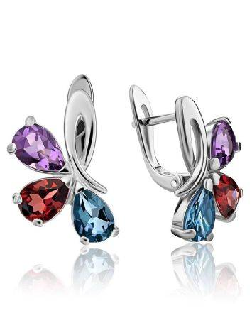 Silver Earrings With Bright Mix Color Crystals, image