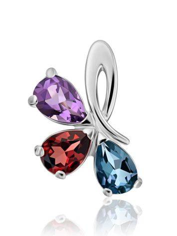Silver Pendant With Bright Multicolor Crystals, image