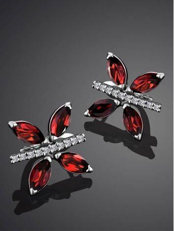 Butterfly Motif Silver Garnet Earrings, image , picture 2