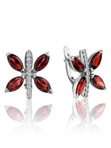 Butterfly Motif Silver Garnet Earrings, image