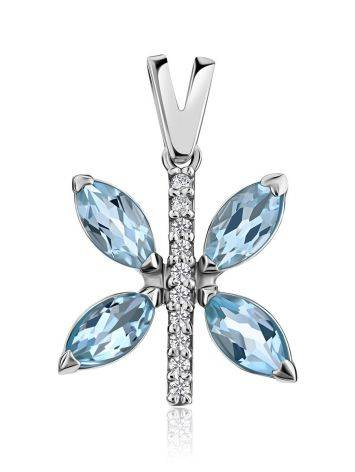 Butterfly Motif Silver Topaz Pendant, image