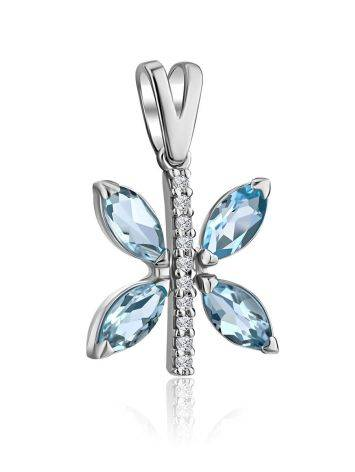 Butterfly Motif Silver Topaz Pendant, image , picture 3