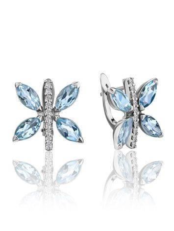 Butterfly Motif Silver Topaz Earrings, image