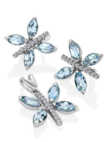 Butterfly Motif Silver Topaz Earrings, image , picture 3