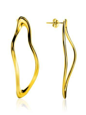 Smooth Stylish Gold Plated Silver Earrings The Liquid, image