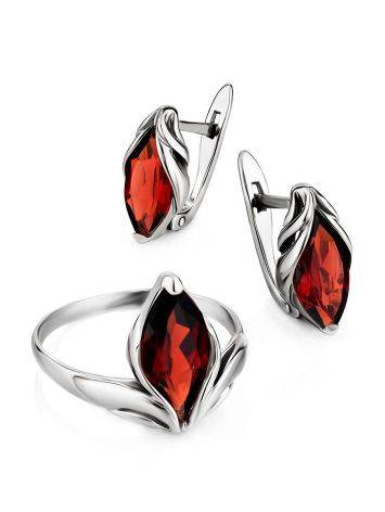 Chic Silver Garnet Earrings, image , picture 3