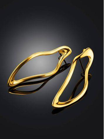 Smooth Stylish Gold Plated Silver Earrings The Liquid, image , picture 2