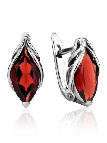 Chic Silver Garnet Earrings, image