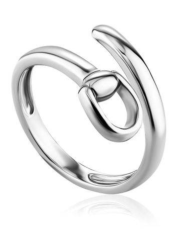 Stylish Belt Shaped Silver Coil Ring The ICONIC, Ring Size: Adjustable, image