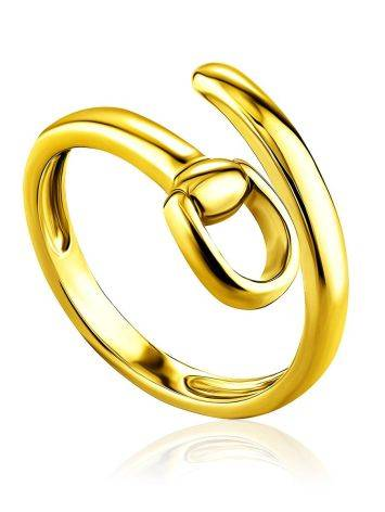 Trendy Gold Plated Belt Shaped Coil Ring The ICONIC, Ring Size: Adjustable, image