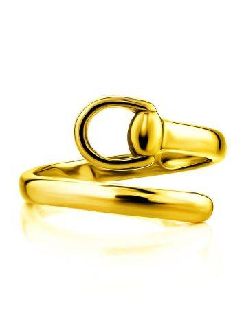 Trendy Gold Plated Belt Shaped Coil Ring The ICONIC, Ring Size: Adjustable, image , picture 3