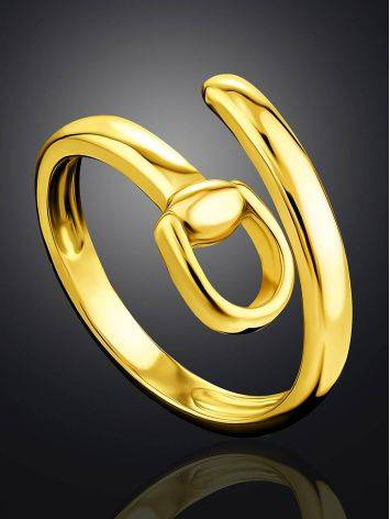 Trendy Gold Plated Belt Shaped Coil Ring The ICONIC, Ring Size: Adjustable, image , picture 2