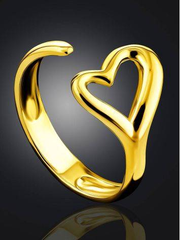 Heart Shaped Gold Plated Silver Adjustable Ring The Liquid, Ring Size: Adjustable, image , picture 2