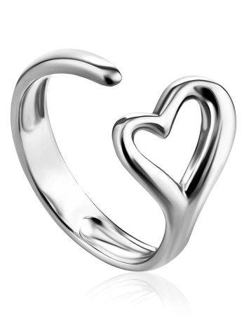 Heart Shaped Silver Adjustable Ring The Liquid, Ring Size: Adjustable, image