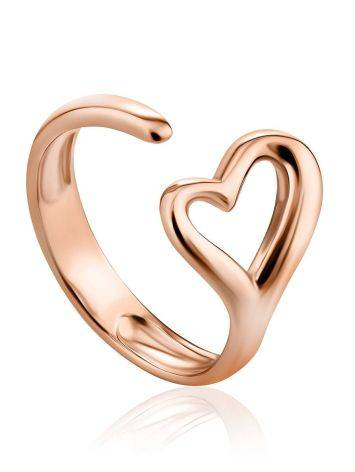 Heart Shaped Gilded Silver Adjustable Ring The Liquid, Ring Size: Adjustable, image