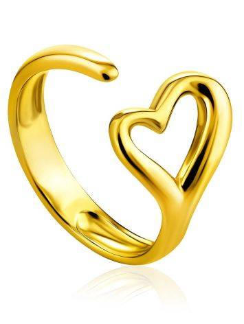 Heart Shaped Gold Plated Silver Adjustable Ring The Liquid, Ring Size: Adjustable, image