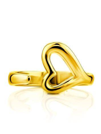 Heart Shaped Gold Plated Silver Adjustable Ring The Liquid, Ring Size: Adjustable, image , picture 3