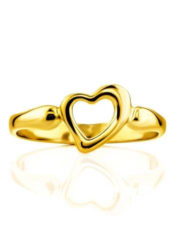 Heart Shaped Gilded Silver Ring The Liquid, Ring Size: 6 / 16.5, image , picture 3