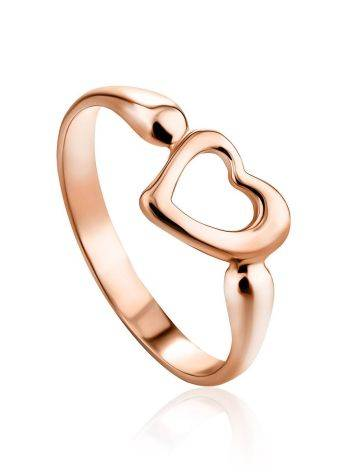 Heart Shaped Rose Plated Silver Ring The Liquid, Ring Size: 11.5 / 21, image