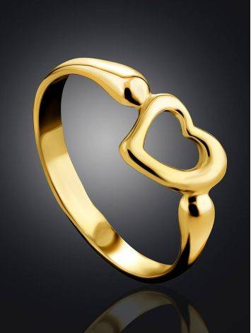 Heart Shaped Gilded Silver Ring The Liquid, Ring Size: 6 / 16.5, image , picture 2