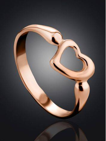Heart Shaped Rose Plated Silver Ring The Liquid, Ring Size: 11.5 / 21, image , picture 2