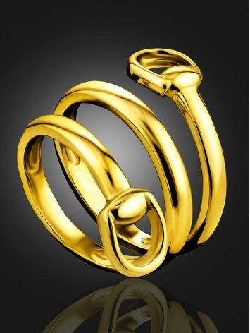 Designer Gold-Plated Silver Belt Shaped Ring The ICONIC, Ring Size: Adjustable, image , picture 2
