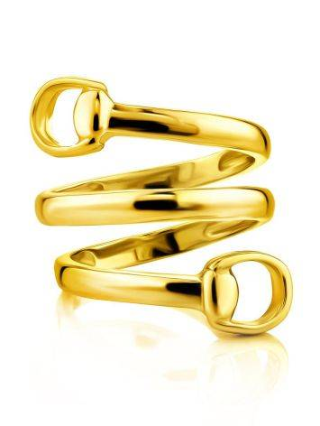 Designer Gold-Plated Silver Belt Shaped Ring The ICONIC, Ring Size: Adjustable, image , picture 3