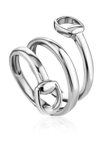 Silver Belt Shaped Ring The ICONIC, Ring Size: Adjustable, image