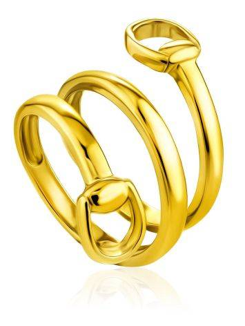 Designer Gold-Plated Silver Belt Shaped Ring The ICONIC, Ring Size: Adjustable, image