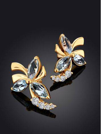 Floral Design Gold Topaz Earrings, image , picture 2