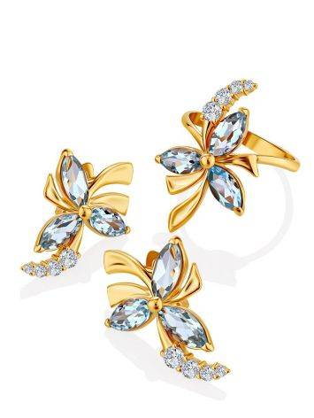 Floral Design Gold Topaz Earrings, image , picture 4