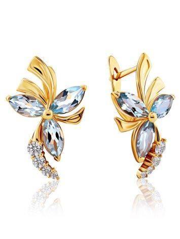 Floral Design Gold Topaz Earrings, image