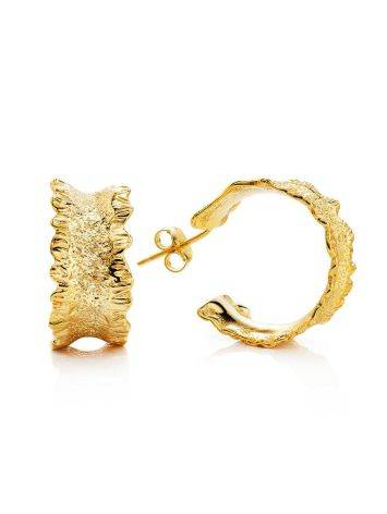 Textured Gold Plated Hoop Earrings The Liquid, image