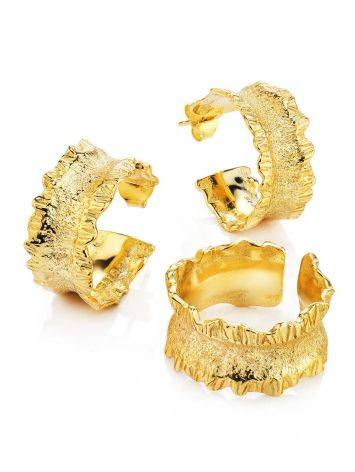 Textured Gold Plated Hoop Earrings The Liquid, image , picture 3