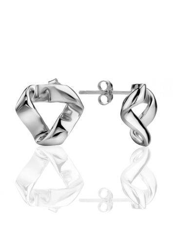 Sterling Silver Hammered Abstract Stud Earrings The Liquid, image