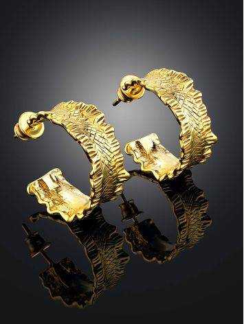 Wonderful Gold Plated Hoop Earrings The Liquid, image , picture 2