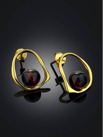 Minimalistic Gold Plated  Silver Earrings With Natural Cherry Amber The Palazzo, image , picture 2