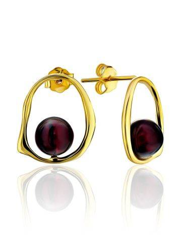 Minimalistic Gold Plated  Silver Earrings With Natural Cherry Amber The Palazzo, image