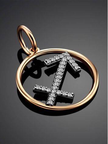 Gold Diamond Sagittarius Sign Pendant, image , picture 2
